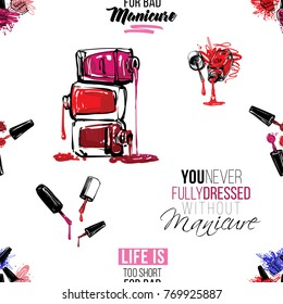 Manicure vector seamless pattern with nail manicure accessories for nails care. Watercolor art graphic icons on white background. Fashion illustration, beauty salon logo, uniform concept.