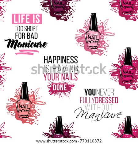 Manicure vector seamless pattern pink nail stock vector for Uniform spa vector