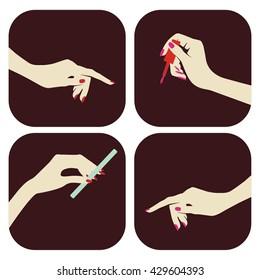 Manicure, vector set of hands