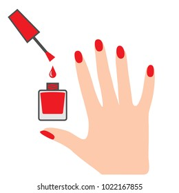 Manicured hand and nail laquer bottle. Professional manicure concept
