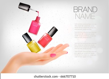 Manicured hands and several nail laquer bottles. Vector illustration