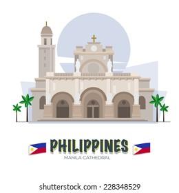 Manila Cathedral. Philipines landmark. asean set - vector illustration