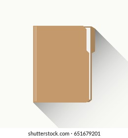 Manila Folder with Document. Flat designed vector illustration with Long Shadow