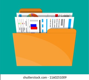 Manila folder with financial report with charts. Ring binder full of business papers. Auditing, tax process, accounting voncept. Vector illustration in flat style
