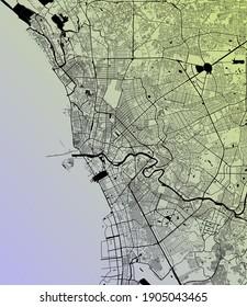 Manila, Metropolitan Manila, Philippines (PHL) - Urban vector megacity map with parks, rail and roads, highways, minimalist town plan design poster, city center, downtown, transit network