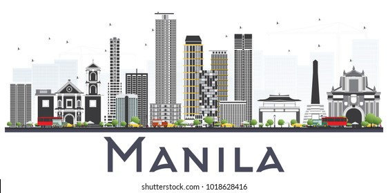 Manila Philippines City Skyline with Gray Buildings Isolated on White Background. Vector Illustration. Business Travel and Tourism Concept with Historic Buildings. Manila Cityscape with Landmarks.
