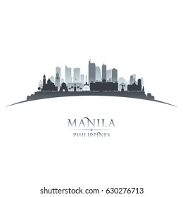 Manila Philippines city skyline silhouette. Vector illustration