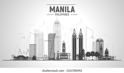 Manila Philippines line skyline with panorama in white background. Vector Illustration. Business travel and tourism concept with modern buildings. Image for banner or web site.