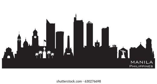 Manila Philippines skyline Detailed vector silhouette