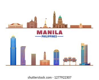 Manila Philippines skyline with panorama in white background. Vector Illustration. Business travel and tourism concept with modern buildings. Image for banner or web site.