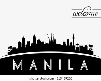 Manila Philippines skyline silhouette, black and white design, vector illustration