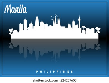 Manila, Philippines skyline silhouette vector design on parliament blue and black background.