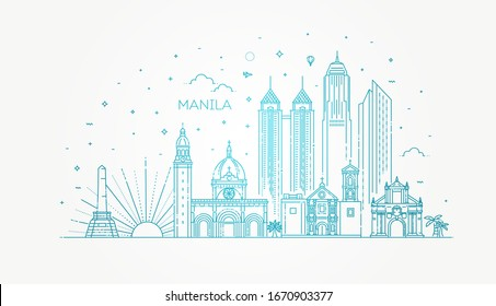 Manila Philippines vector City Skyline. Vector Illustration