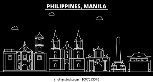Manila silhouette skyline. Philippines - Manila vector city, filipino linear architecture, buildings. Manila travel illustration, outline landmarks. Philippines flat icon, filipino line banner