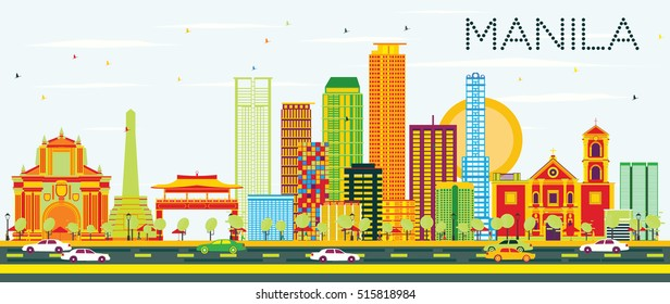 Manila Skyline with Color Buildings and Blue Sky. Vector Illustration. Business Travel and Tourism Concept with Modern Architecture. Image for Presentation Banner Placard and Web Site