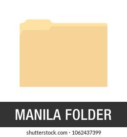 Manila Yellow Folder Icon, Yellow Folder, Office Folder, File Cabinet Folder Vector Illustration