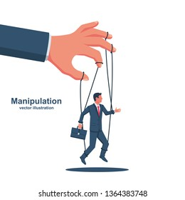 Manipulation concept. Worker on ropes. Abuse of power. Vector illustration flat cartoon. Hand of puppeteer holding a little businessman on a leash. Control workers.