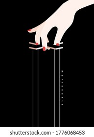 Manipulation hand. Hands of an Invisible puppeteer. Mind controlled, Master dictator, Bossy, Marionette, Puppet, Theater. Flat design Modern vector illustration.