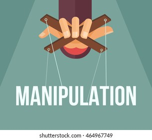 Manipulation hand. Vector flat cartoon illustration