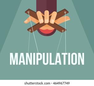 Manipulation hand. Vector flat cartoon illustration