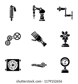 Manipulator arm icons set. Simple set of 9  vector icons for web isolated on white background