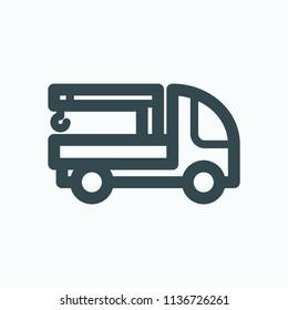 Manipulator truck icon, telescopic crane truck vector icon