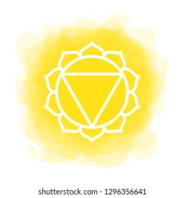 Manipura icon. The third sun chakra. Vector yellow smoky circle. Line symbol. Sacral sign. Meditation