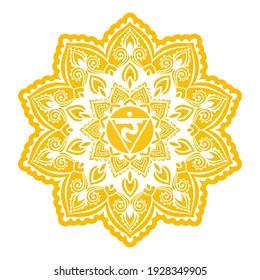Manipura Third chakra coloring vector illustration. Yellow Color. Solar Plexus chakra. For logo yoga healing meditation. Beautiful outline mandala. Ethnic, Indian style.