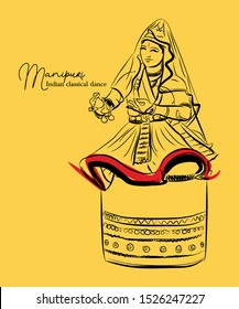 Manipuri the indian classical dance form of manipur india sketch or vector illustration