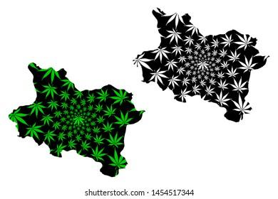 Manisa (Provinces of the Republic of Turkey) map is designed cannabis leaf green and black, Manisa ili map made of marijuana (marihuana,THC) foliage,