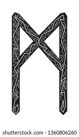 Mannaz rune. Ancient Scandinavian runes. Runes senior futarka. Magic, ceremonies, religious symbols. Predictions and amulets. Ornament lightning. White background, black runes and white ornament