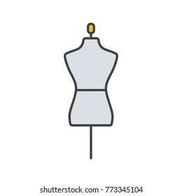 Mannequin color icon. Tailor's dummy. Isolated vector illustration