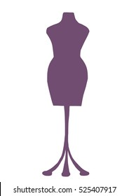 Mannequin dummy for dressmaking isolated on white background. Tailoring icon. Dressmaker icon. Vector illustration.