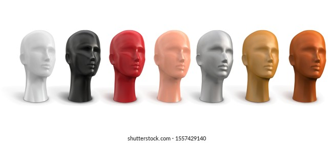 Mannequin of a female head. White, black, red, beige, gold, silver, bronze colors. Vector 3d realistic illustration on a white background.