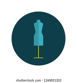 Mannequin flat icon isolated on blue background. Simple sign symbol in flat style. Sewing elements Vector illustration for web and mobile design.