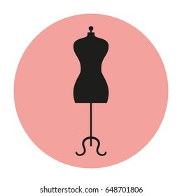 Mannequin icon on pink background. Vector illustration.