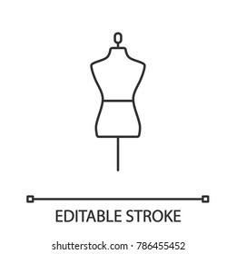 Mannequin linear icon. Thin line illustration. Tailor's dummy. Contour symbol. Vector isolated outline drawing. Editable stroke