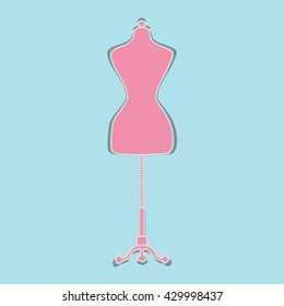 Mannequin. Shape with pearls. Flat Vector Illustration.
