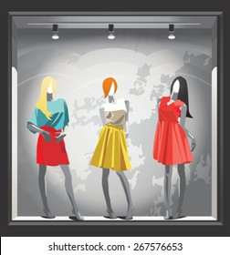 mannequins in bright clothes in a shop window