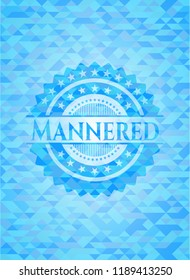 Mannered realistic light blue mosaic emblem