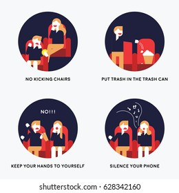 Manners in theaters vector illustration flat design