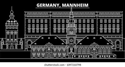 Mannheim silhouette skyline. Germany - Mannheim vector city, german linear architecture, buildings. Mannheim travel illustration, outline landmarks. Germany flat icons, german line banner