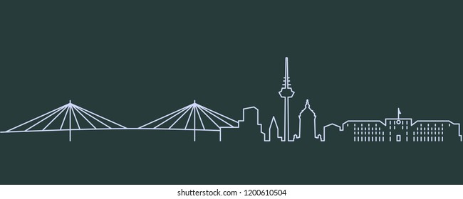 Mannheim Single Line Skyline
