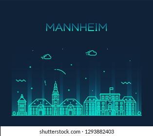 Mannheim skyline, Germany. Trendy vector illustration, linear style