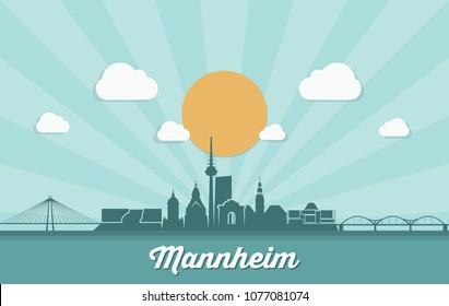 Mannheim skyline - Germany - vector illustration
