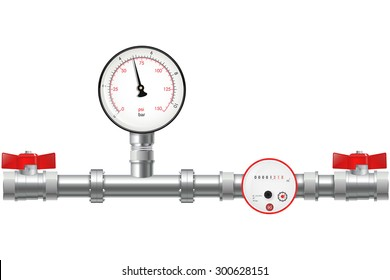 Manometer and Chrome pipes with flange. Water Meter with Water valve - vector isolated