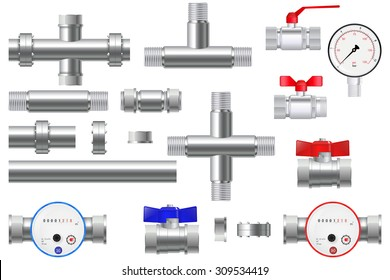 Manometer and Chrome pipes with flange. Water Meter with Water valve. Vector Illustration isolated on white background.