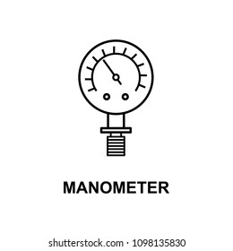 manometer icon. Element of measuring instruments icon with name for mobile concept and web apps. Thin line manometer icon can be used for web and mobile. Premium icon