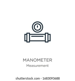 Manometer icon. Thin linear manometer outline icon isolated on white background from measurement collection. Line vector sign, symbol for web and mobile