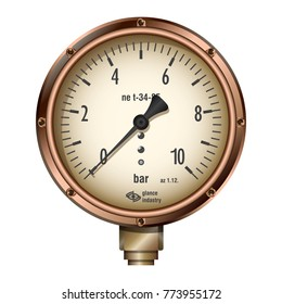 Manometer. Steam or water pressure meter steampunk style. Device for measuring steam or water pressure.